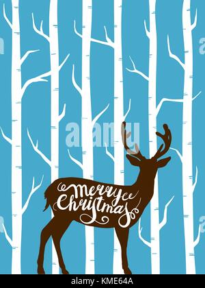 Le renne de Noël dans la forêt. vector illustration d'un chevreuil en graphiques dessinés à la main. Banque D'Images