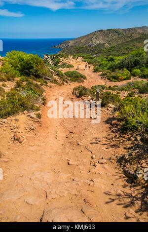 Cami de Cavalls chemin. Plage de Cala Pilar. Ciutadella de Menorca Municipalité. Minorque. Îles Baléares. Espagne Banque D'Images