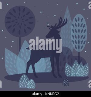 Chevreuil dans la forêt d'hiver. vector illustration Banque D'Images