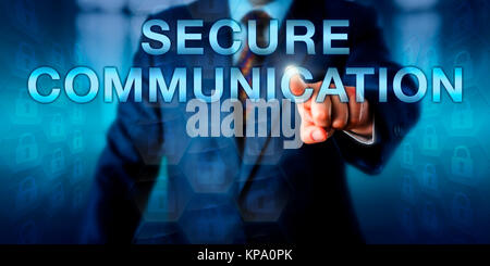 En appuyant sur l'écran de communication sécurisé Expert Banque D'Images