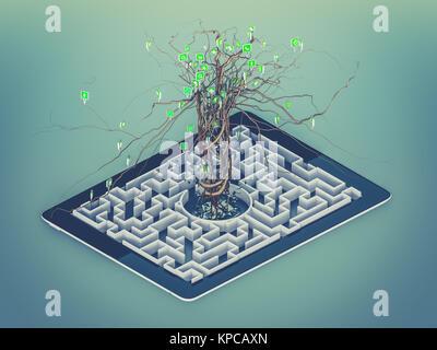 Social media icons set en forme de Labyrinthe dans le comprimé. Banque D'Images