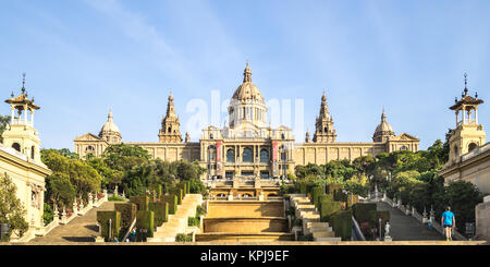 Barcelone, Espagne - 14 juillet 2015: journée d'été sur le Palau Nacional (Palais National) à Barcelone, qui a Banque D'Images