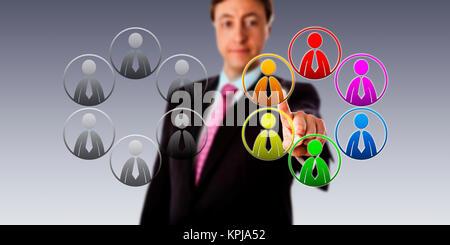 La sélection d'une équipe multicolore sur un gris Banque D'Images