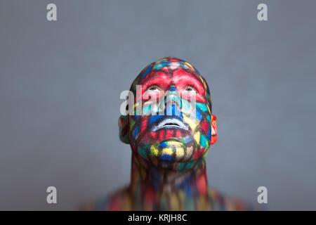 Face à des super-héros colorés Banque D'Images