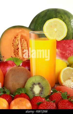 Les fruits et jus Banque D'Images