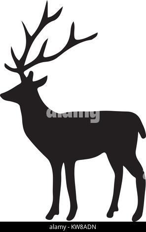 Silhouette de cerf, Vector illustration Banque D'Images
