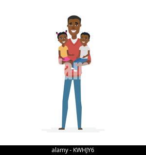 Jeune père de l'Afrique avec des bébés - cartoon illustration isolé des caractères des gens Banque D'Images