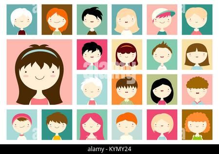 Ensemble de visages masculins et féminins des avatars. Vector icons set dans un style plat. Portraits de garçons Banque D'Images