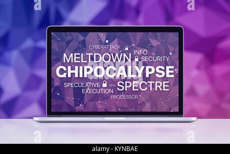 Meltdown et spectre menace sur l'écran du portable sur concept polygonal ultraviolet arrière-plan. Banque D'Images