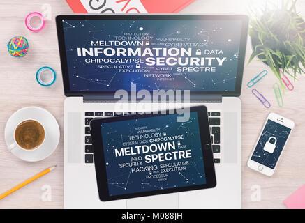Concept de sécurité de l'information avec réacteur et Spectre menace sur les ordinateurs portables et écrans de Banque D'Images