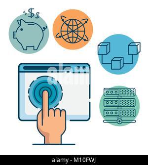 La technologie de l'Internet financier Investissement Fintech fintech Concept design graphique illustration vectorielle Banque D'Images