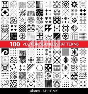 100 vector pattern géométrique transparente collection, des modèles universels, carreaux et wallpapers - Big Pack Banque D'Images
