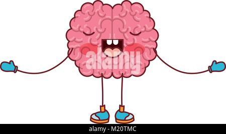 Caricature du cerveau en position debout avec les bras ouverts et l'expression concentrée en silhouette colorée Banque D'Images