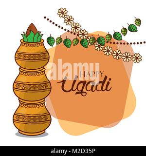 Carte ugadi heureux garland floral décoratif kalash Banque D'Images