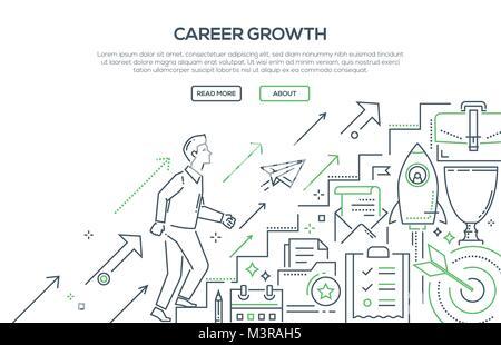 La croissance de carrière - ligne moderne style design illustration Banque D'Images