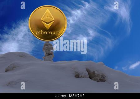 Ethereum est une façon moderne de l'échange et cette crypto-monnaie est un moyen de paiement dans les marchés financiers Banque D'Images