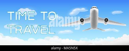 Une fois de voyager avec vol d'un avion sur le cloud Banque D'Images