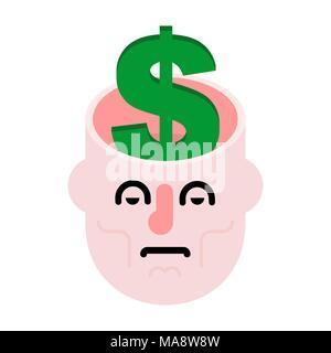 L'argent dans la tête ouverte. De Dollars sur l'esprit. Dans le cerveau de trésorerie Banque D'Images
