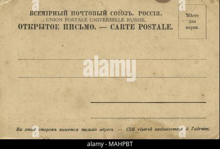 Verso de la carte postale vintage émis au début du 20e siècle Banque D'Images