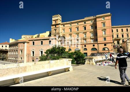 Cagliari, Italie - Septembre 2017:Les touristes dans la vieille ville Banque D'Images