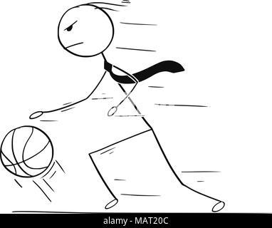 Caricature de Businessman jouer au basket-ball Dribble et une balle Banque D'Images