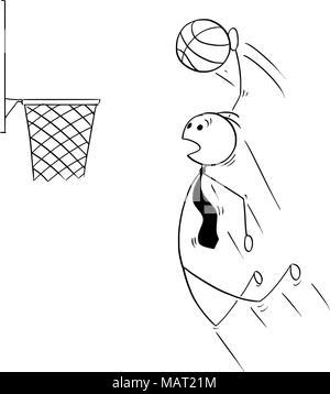Caricature de Businessman jouer au basket-ball et Score Banque D'Images