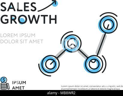 Modèle coloré pour la croissance des ventes Banque D'Images