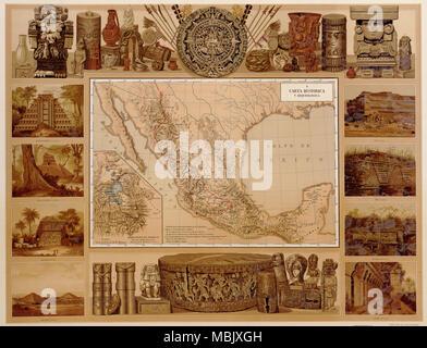 Objets historiques du Mexique indien du passé - 1885 Banque D'Images