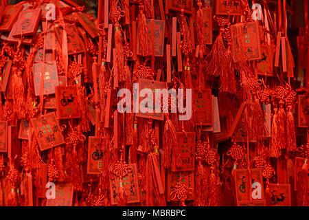 De nombreuses cartes rouges qui souhaitent suspendre à un arbre dans le temple Dongyue, l'est le centre de Pékin, Chine Banque D'Images