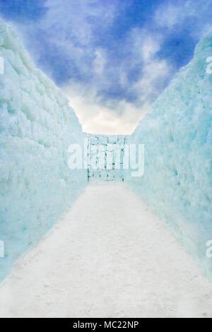Couloir de neige labyrinthe sans issue. Banque D'Images