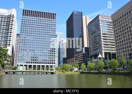 Gratte-ciel à Tokyo Japon autour de l'Impérial Palace Banque D'Images