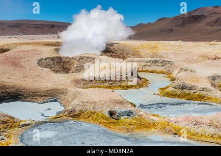 L'activité volcanique du sol de Mañana en Bolivie, près de la frontière avec le Chili et l'Uyuni Salt Flat. Nous voyons la boue des fosses et les fumerolles de vapeur d'eau. Banque D'Images