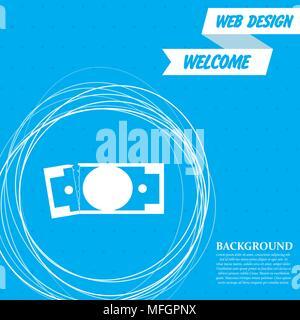 L'icône de dollar sur un fond bleu avec abstract circles autour et la place pour votre texte. Vector illustration Banque D'Images