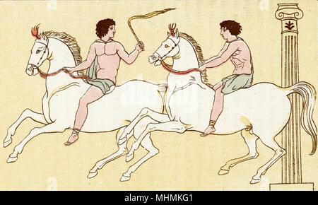 Deux coureurs concurrence dans une course de cheval grec. Date: ancien Banque D'Images