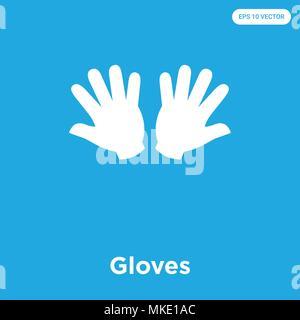 Icône vecteur gants isolé sur fond bleu, signe et symbole Banque D'Images