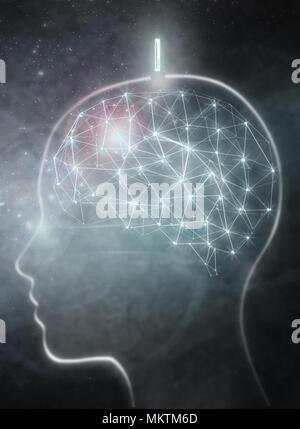 Cerveau humain avec implant numérique Banque D'Images