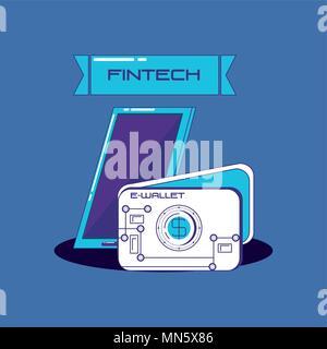 Fintech concept avec smartphone et wallet sur fond bleu, vector illustration Banque D'Images
