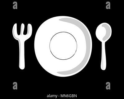 Fourche Cuillère plaque. Symbole de la cuisine. Vector Banque D'Images