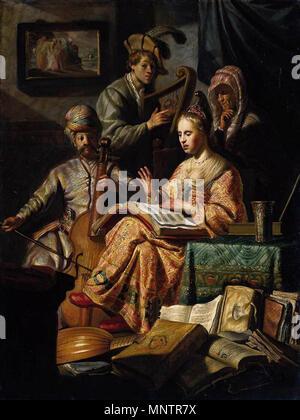 Le Parti de la musique . Partie musique allégorique. À gauche un homme en robe oriental et un turban joue la viole. Juste à côté de lui un homme joue de la harpe. Une jeune femme est assise à côté d'une table avec un recueil de chansons ouvert sur ses genoux en chantant. Derrière elle une femme plus âgée avec foulard montres sur. Dispersés sur le sol sont des instruments de musique (un luth, un violon) et piles de livres. Sur le mur une peinture montrant Lot fuyant Sodome peut être vu. 1626. 1050 - Rembrandt La Music Party - WGA19249 Banque D'Images