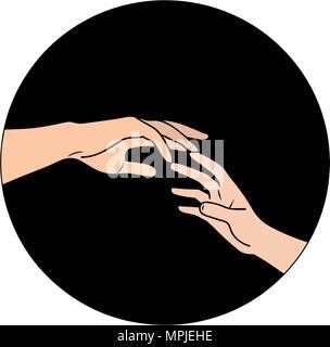 Vector illustration. Deux mains tendues sur fond noir Banque D'Images