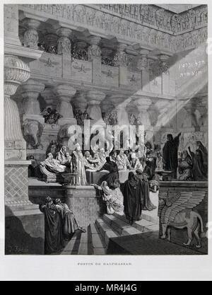 Gravure de Gustave Dore (1832-1883): la fête de Belshazzar. Belshazzar est titulaire d'une grande fête et des boissons dans les navires qui avaient été pillés dans la destruction du Premier Temple. Une main apparaît et écrit sur le mur. Le Belshazzar terrifié appelle à la sagesse des hommes, mais ils sont incapables de lire l'écriture. Banque D'Images