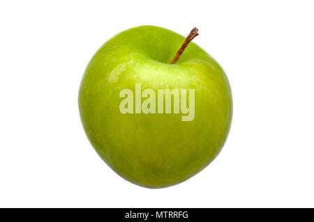 Pomme verte fraîche parfait isolé sur fond blanc. Banque D'Images