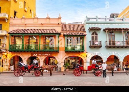 La Plaza de los Coches, Cartagena de Indias, Colombie Banque D'Images