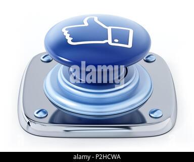Les médias sociaux comme le bouton-icône isolé sur fond blanc. 3D illustration. Banque D'Images