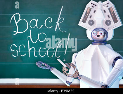Robot de l'enseignant avec l'intelligence artificielle en classe d'école, tableau noir. Banque D'Images
