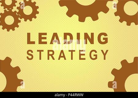 Signe de la stratégie concept illustration avec brown pignon chiffres sur fond marron pâle Banque D'Images