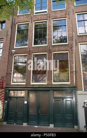 Anne Frank (1929-1945). L'écrivain allemand d'origine juive. La maison d'Anne Frank. Façade. Amsterdam. La Hollande. Banque D'Images