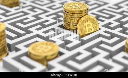 Des piles de Bitcoin dans le labyrinthe. Difficile et un avenir inconnu cryptocurrencies. Le rendu 3D Banque D'Images