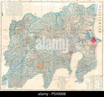1843 Tienpo période Edo 14 Plan de Mt. Fuji, Tokyo, et Environs - Geographicus - Fuji--1843 edo. Banque D'Images
