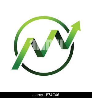La croissance financière vert cercle symbole vecteur Conception Logo Graphique Banque D'Images